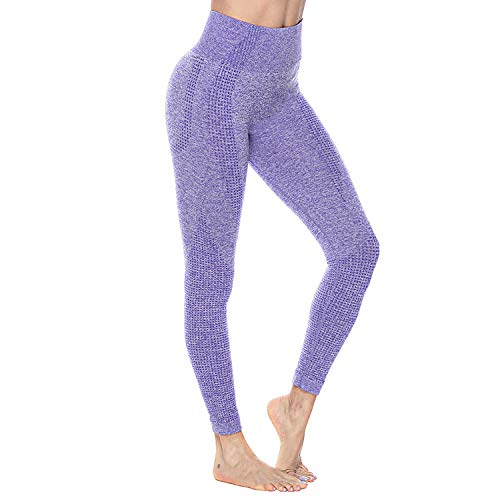 Women's High Waist Yoga Pants Seamless Leggings Tummy Control Workout Running Yoga Skinny Leggings(Purple, Medium)