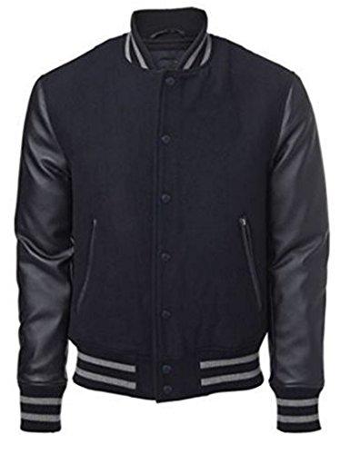 Original Windhound College Jacke schwarz mit schwarzen Echtleder Ärmel S