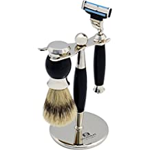 Nicholas Winter 3 Piece Black / Silver Traditional Shaving Set In Stand. Gillette Mach 3 Compatible
