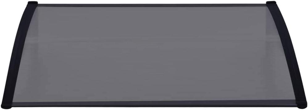 vidaXL T/ürvordach Haust/ürdach Haust/ür /Überdachung T/ürdach Pultvordach Vordach Haust/ürvordach Grau Transparent 120x80cm PC Aluminiumstab