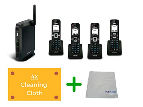 (Vtech VSP600 DECT Base | Up to 6 SIP Account with Cordless Office Phone and Microfiber Cleaning Cloth | #VTECH-VSP600-B (DECT Base with 4 Handsets))