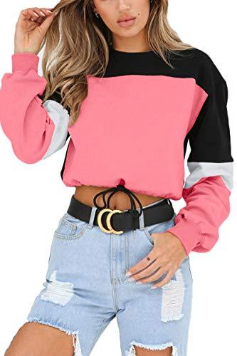 LEISUP Womens Patchwork Scoop Neck Long Sleeve Color Block Sweatshirt Top Pink M