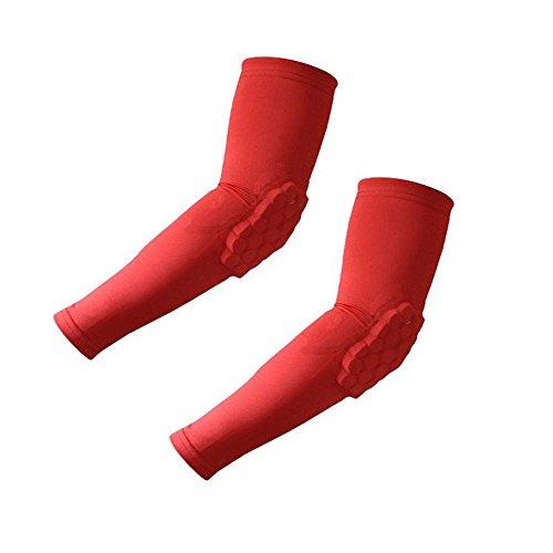 Morris 1 Pair / 2 Pcs Honeycomb Pad Crashproof Cycling Basketball Arm Guard Sleeve Elbow Support (Red, Medium)