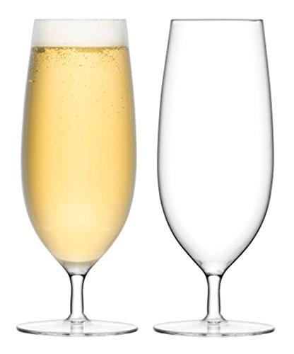 Stemmed Pilsner Glass (LSA International Bar Pilsner Glass (2 Pack), 15.2 fl. oz., Clear)