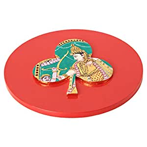 The Urban Yogi Plywood Red And Green Tanjore Red Symbol