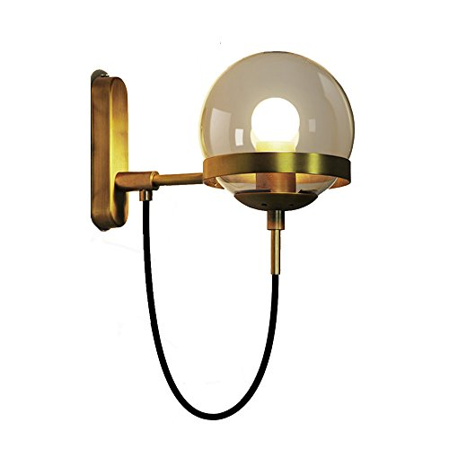 Retro Glass American Glass Ball Wall Light Modern Simple Copper Metal Bedroom Living Room Cafe Hotel Lighting Wall Light ( Color : Gold )