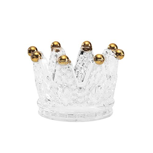 AfazfaCrystal Ashtray Cigarette Crown Candlestick Tea Light Stand Candle Holder (Clear)