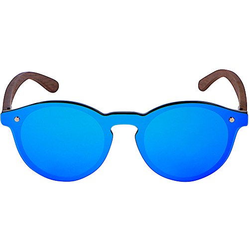 WOODIES Walnut Wood Foster Style Sunglasses with Flat Blue Mirror Polarized Lens by Woodies (Image #1)