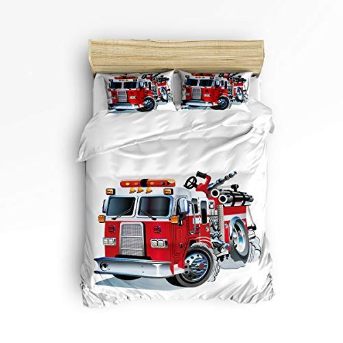 ing Set, Queen Size Cartoon Fire Truck Theme 4 Piece Duvet Cover Set Bedspread for Childrens/Kids/Teens/Adults Red ()