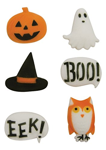 Halloween Spooktacular Asst. Pumpkin Ghost Witch Hat Owl Boo Eek Sugar Decorations Cookie Cupcake Cake 12 -