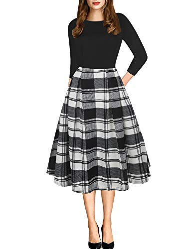 oxiuly Women's Vintage Plaid Patchwork 3/4 Sleeve Pockets Puffy Swing Casual Party Dress OX165 (L, Black Plaid P7)