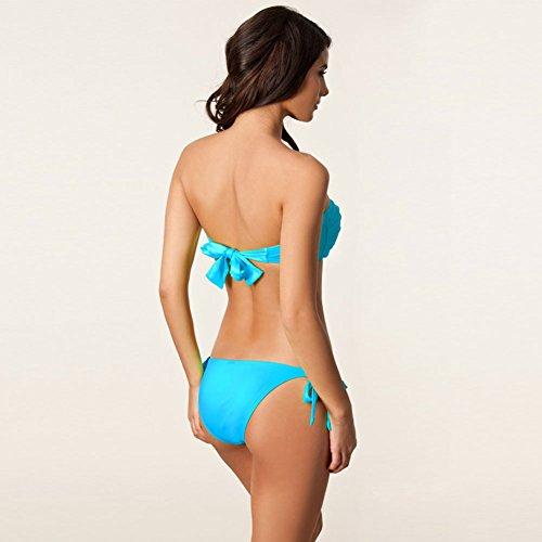 Pinkyee mujer bandeau twist–Parte superior extraíble Halter Push Up Bandage Bikini Azul