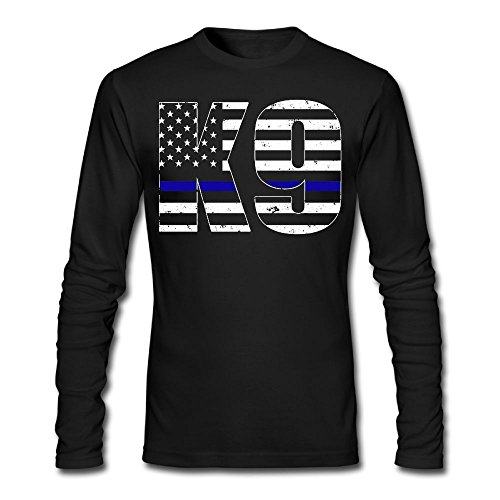 Sleeve Tropical Police Shirt (BoxingNICK Police K9 Thin Blue Line Casual Fashion Cotton Durable Coverseamed Neck Adult&Youth MensLong Sleeve T-Shirt)