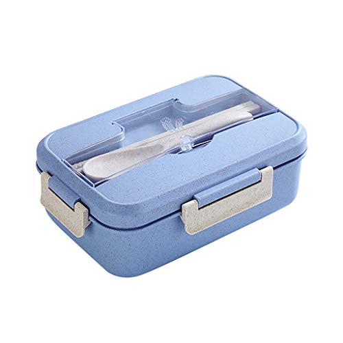 Fine Microwave Wheat Straw Bento Lunch Box, Reusable Meal Prep Container with Spoon,Bamboo Fiber Food Storage Container Microwave Oven Bento Boxes (Blue)