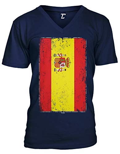 (Distressed Spain Flag - Spanish Latino Unisex V-Neck T-Shirt (Navy, Medium))