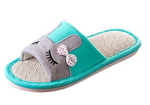 Zapatillas De Casa Para Mujeres Cattior Con Punta Abierta Zapatillas De Bunny Verdes