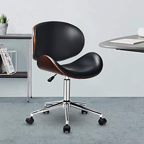 Cchainway Adjustable Modern Mid-Century Office Chair with Curved Seat/Back, Swivel Executive Chair, Rolling Computer Chair, Bent Wooden Accent Office Chair for Home and Office