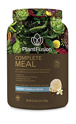 Cheap PlantFusion Complete Meal Plant Based Protein Powder, Creamy Vanilla Bean, 2 Lb Tub, 20 Servings, 1 Count, Gluten Free, Vegan, Non-GMO, Packaging May Vary