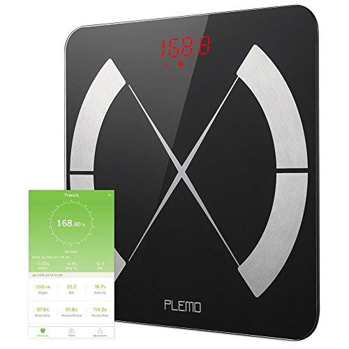 PLEMO Body Fat Scale, Smart Body Composition Scale, Body Weight Scale, Smart BMI Scale Digital Bathroom Weight Scale, Body Composition Analyzer with Smartphone App
