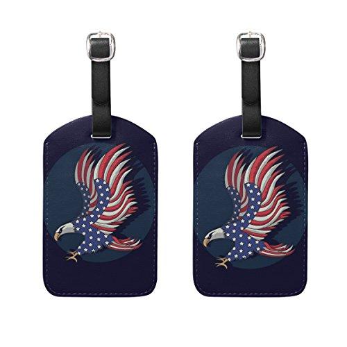 ALAZA Eagle American Flag Luggage Tags PU Leather Bag Tag for Suitcase 2pcs ()