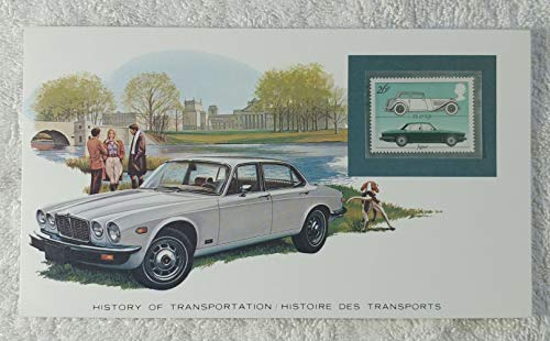 Jaguar - Postage Stamp (United Kingdom, 1982) & Art Panel - The History of Transportation - Franklin Mint (Limited Edition, 1986) - Automobile, British