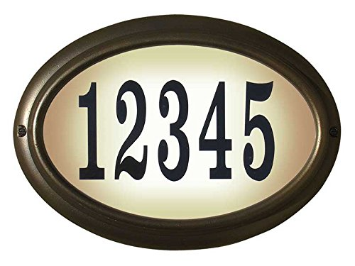 Qualarc LTO-1302-ORB-LED-PN  Edgewood Rust Free Cast Aluminum Oval Lighted Address Plaque with Led Lights & 4 inch Black Polymer Numbers