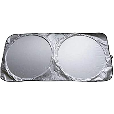 Vech Car Windshield Sunshade with Bonus Steering Wheel Cover Sun Shade. 170T Reflective Polyester Blocks Heat and Sun. Foldable Sun Shield That Keeps Your Vehicle Cool (60 x 27.5 in): Automotive [5Bkhe0102820]