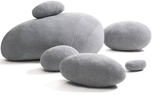WOWMAX Three-Dimensional Curve Living Stones Pillows 6 Mix Sizes Stuffed Pillows Big Rock Pillows New Pebble Pillows Light Gray