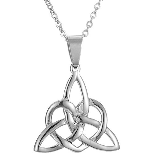 Stainless Steel Irish Celtic Knot Triangle Heart Shape Necklace Pendant (Silver) (Triangle Boxes Heart)
