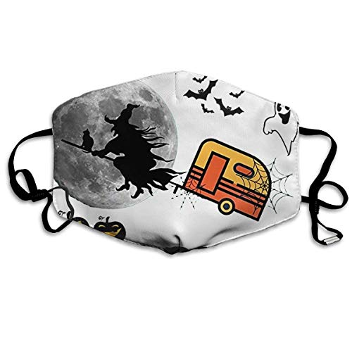 XINNAN Strong Elastic Earloop, Unisex,Soft and Breathable,Washable Mouth Masks Witches with Hitches Camping Funny Halloween Printed Mouth Masks Unisex Anti-dust Masks Reusable Face Mask -