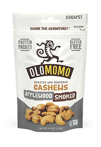 OLOMOMO Applewood Smoked Cashews: Paleo, Vegan, Gluten Free, Non-GMO, Healthy Snack packs, Bacon flavor, Sea Salt, 4-oz bag