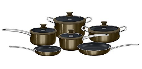 Kenmore 10-pc. Ceramic Nonstick Cookware Set in Gunmetal Finish (Titanium Ceramic Coating, Induction Bottom) (Kenmore Pans And Pots)