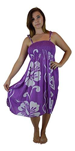 Island Style Elastic Dress - Tribal Hibiscus (Purple)