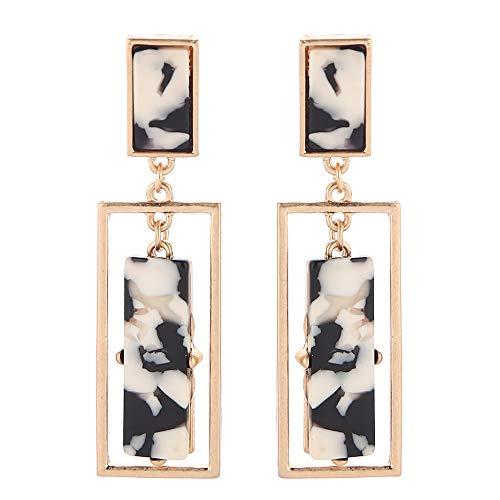 Eran Fashions Acrylic Earrings Women's Cellulose Acetate Earrings Geometric Double Rectangle Dangle Earrings (Black) ()