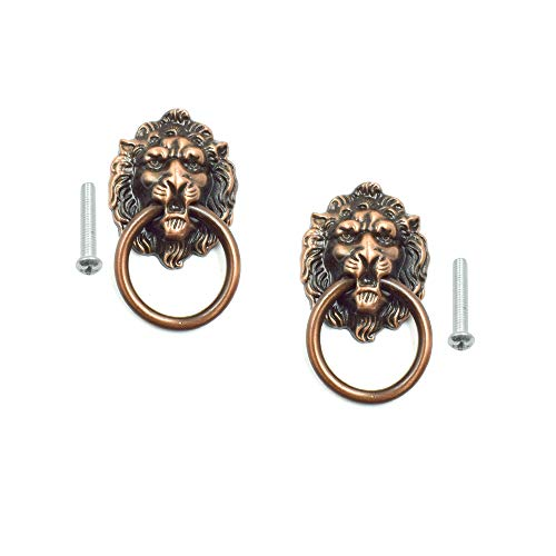 Cyful Lion Head Dresser Drawer Cabinet Door Ring Lion Head Pull Handle Knob Copper Tone - (2 Pcs) ()