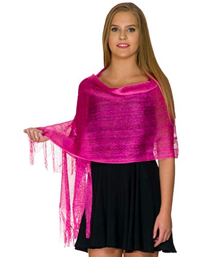 Shawls and Wraps for Evening Dresses, Wedding Shawl Wrap Fringes Scarf for Women Fuchsia Petal Rose