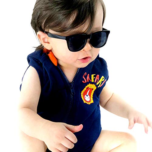 Kd3006 infant baby Toddlers 0~24 Months Old 80s retro Sunglasses (Black) -