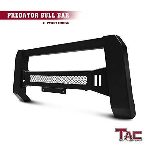 TAC Predator Mesh Version Modular Bull Bar for 2007-2018 Chevy Silverado / GMC Sierra 1500 Pickup Truck Front Brush Bumper Grille Guard Fine Textured Black Suitable for LED Off-Road Lights Gmc Sierra Brush Guard