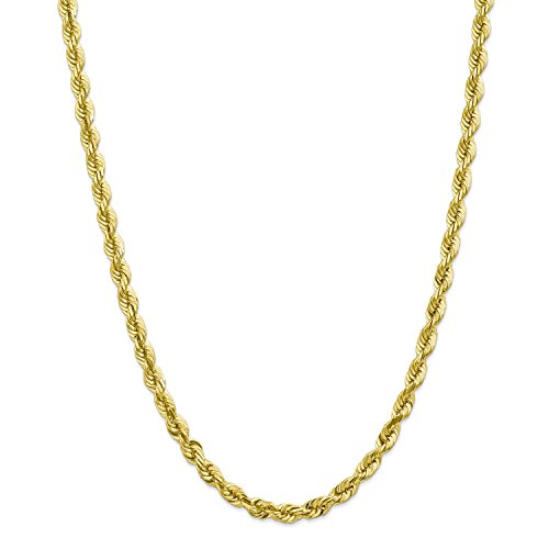10k Gold 18' Chain - Roy Rose Jewelry 10K Yellow Gold 6mm Handmade Diamond-cut Rope Chain Necklace ~ Length 18'' inches