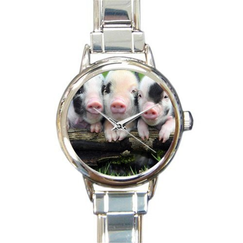 Personalized Watch Little Lovely Cute Baby Pig Round Italian Charm stainless steel (Pig Italian Charm)
