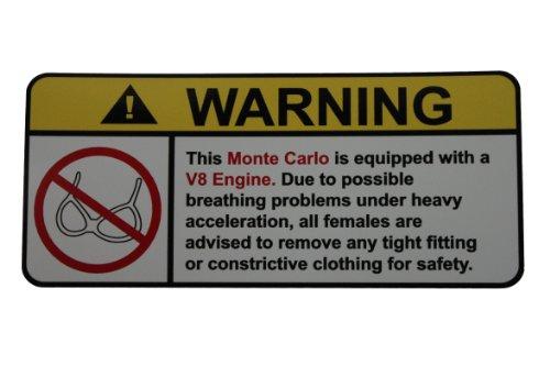 [Monte Carlo V8 No Bra, Warning decal, sticker] (Monte Carlo Decal)