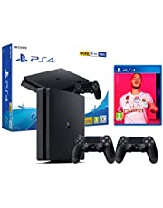 PS4 Slim 500Go Console Playstation 4 Noir + FIFA 20 + 2 manettes Dualshock 4