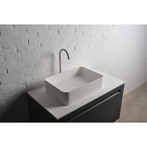 ID Thin Rectangular Solid Surface Vessel Sink Bowl Above Counter Sink Lavatory by ID Bath Collection