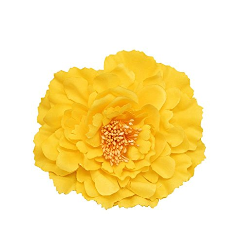Baby Brooch Yellow - Kewl Fashion Women's Bohemia Peony Flowers Hairpin Hair Clip Flower Brooch (Yellow #1)