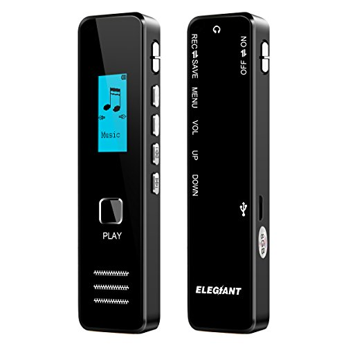 Digital Voice Recorder, ELEGIANT Portable Ultra-thin 8GB USB Recorder Dictaphone with MP3 Player, Audio Sound Activated Recorder for Meetings Class Lectures Conferences Concerts Interviews - Black by ELEGIANT