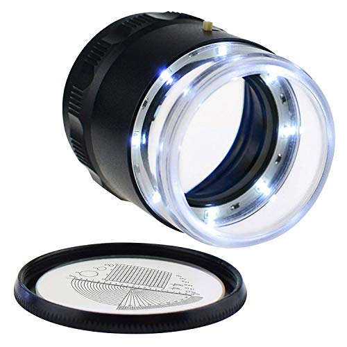 Mini Handheld Jewelry Eye Loupe with 8 LED Lights and Reticle Scale 10X 25MM Portable Magnifier for Gems Jewelry Rocks Hobbies Antiques Models