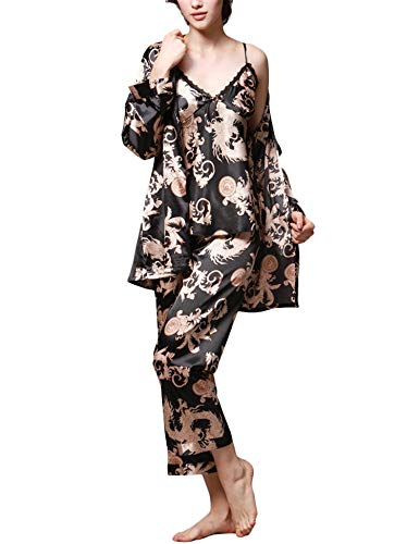 Romanstii Silk Satin Pajamas Sleepwear Long Sleeve Home Nighty Three Piece Set