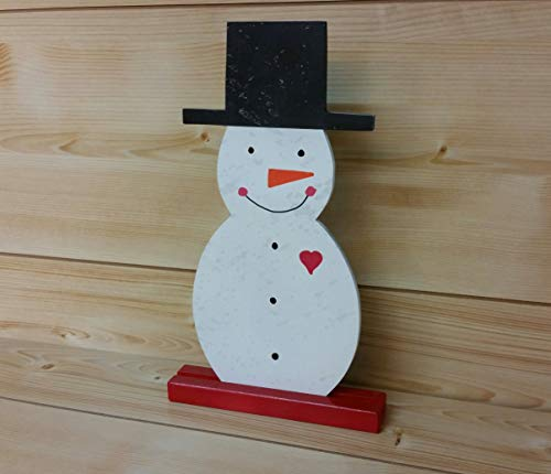 (Wooden Snowman - Wood Snowman with Stand - Snowman with Heart - Snowman Decoration - Christmas Decoration)