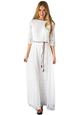 LookbookStore Women's White 3/4 Sleeve Wedding Plus Size Lace Maxi Dress US2-18