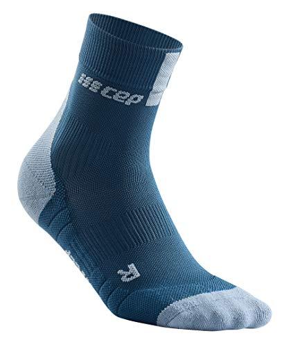 Women's Crew Cut Compression Socks- CEP Short Socks 3.0, Blue/Grey III